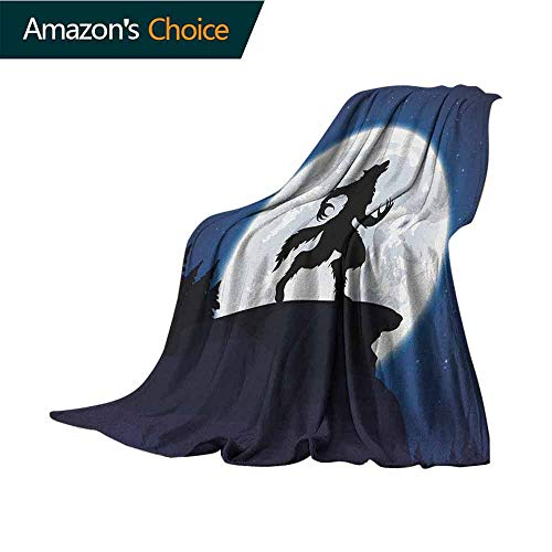 Wolf Bed Blanket,Full Moon Night Sky Growling Werewolf Mythical Creature in Woods Halloween Lightweight Extra Soft Skin Fabric,Not Allergic,30
