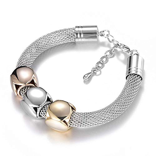 Silver Show Quality Mosaic (Christmas Special Gifts Yntmerry trend silver-plated adjustable size bracelet women High-end luxury titanium steel mesh-shaped geometric bracelet)