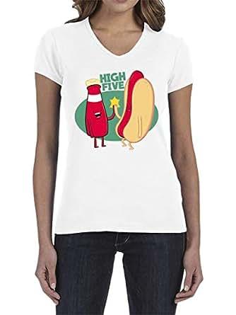 IngraveIT White Cotton V Neck T-Shirt For Women
