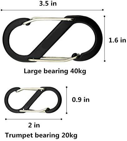 Banner Bonnie Pack of 6//12 Aluminum Carabiner Screw Lock D-ring Key Chain Clip Hook Outdoor Buckle for Hiking Fishing etc