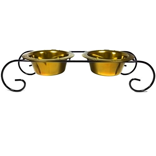Platinum Pets Double Diner Low Feeder with Scroll Stand, 12-Ounce, Gold by Platinum Pets