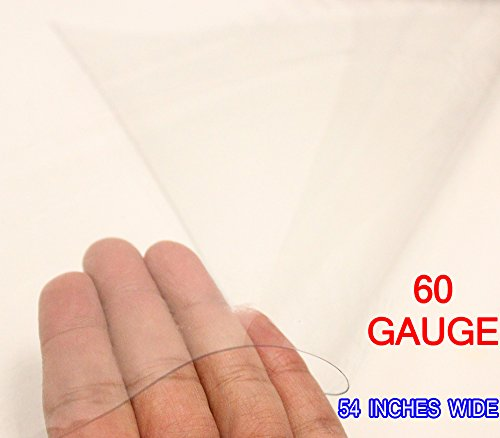 60 Gauge Clear Vinyl Fabric 100% UV Rated 54' Wide Sold By The Yard (Marine Grade)