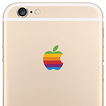 Le 8 bit retro rainbow apple logo decal iphone 6 plus decal sticker