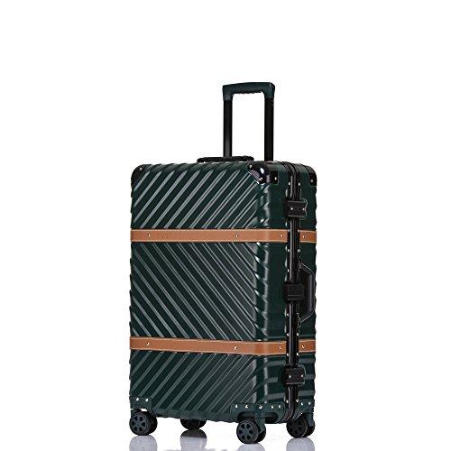 Clothink Aluminum Frame 28 Inch Hardside Fashion Luggage with Detachable Spinner Wheels, Dark - Travel Case Aluminum