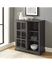 WE Furniture Sliding Glass Door Bar Cabinet with Wine Bottle Storage and Stemware Racks