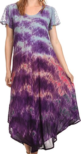 Sakkas 16802 - Kaylaye Long Tie Dye Ombre Embroidered Cap Sleeve Caftan Dress / Cover Up - Purple - OS