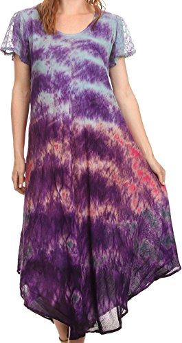 Cap Sleeve Embroidered Dress - Sakkas 16802 - Kaylaye Long Tie Dye Ombre Embroidered Cap Sleeve Caftan Dress / Cover Up - Purple - OS