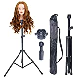 Borogo Wig Stand Metal Adjustable Cosmetology Hairdressing Training Mannequin Head Tripod Stand for Canvas Block Wig Head Stand with Carry Bag