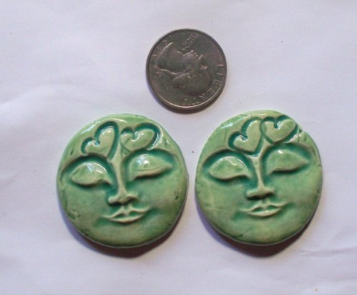 HM Pottery ~Turquoise Heart Moon Faces~ 2 Pendants - Mosaic Tiles