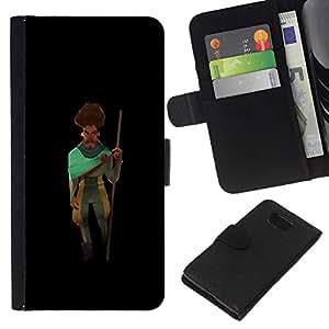 All Phone Most Case / Oferta Especial Cáscara Funda de cuero Monedero Cubierta de proteccion Caso / Wallet Case for Samsung ALPHA G850 // Man Moustache Beard Art Traveller Stick