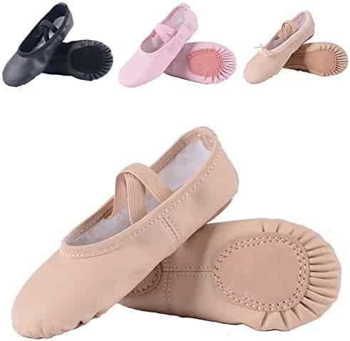 Leather Ballet Shoes for Girls/Toddlers/Kids, Full Sole Leather Ballet Slippers/Dance Shoes, Pink/Nude
