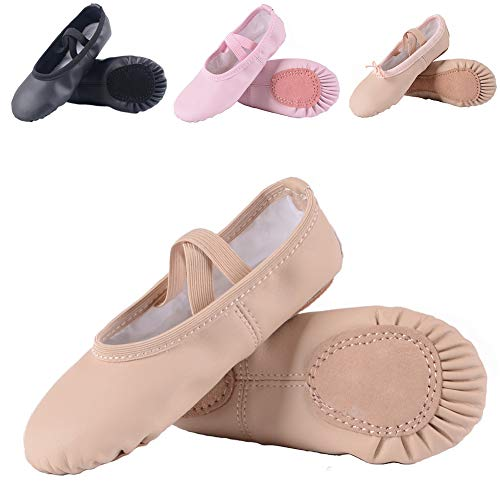Ruqiji Leather Ballet Shoes for Girls/Toddlers/Kids, Leather Ballet Slippers/Dance Shoes, Nude -