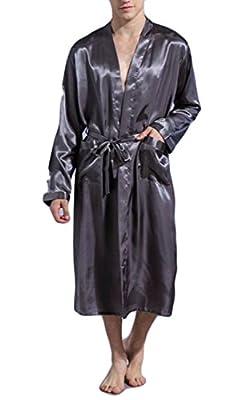 Joe Wenko Men Kimono Solid Color Bathrobe Long Sleeve Silk Loose Fit Robe