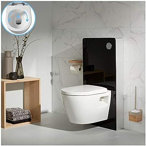 Planetebain Pack WC suspendida en Cristal Negro con cubeta sin Brida: Amazon.es: Hogar
