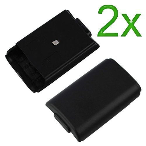 Mosuch Battery Cover for Microsoft Xbox 360 Black 2 Pack