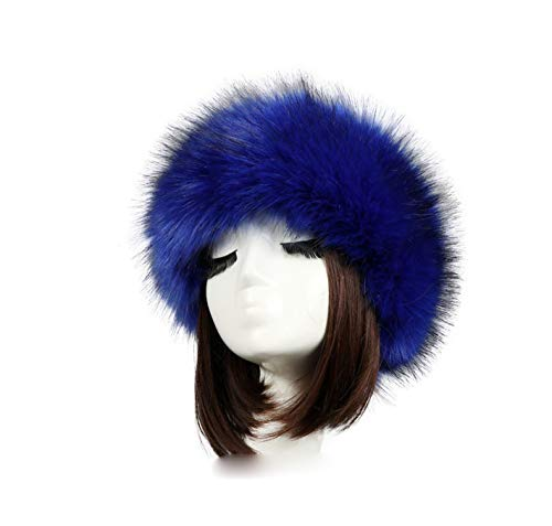 - Tngan Women's Faux Fur Headband Soft Winter Cossack Russion Style Hat Cap Royal Blue