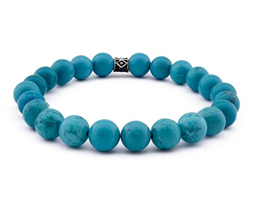 - ZENN STONE Beaded Stretch Bracelets With Turquoise Natural & 925 Silver Stones Collection (Model 2)
