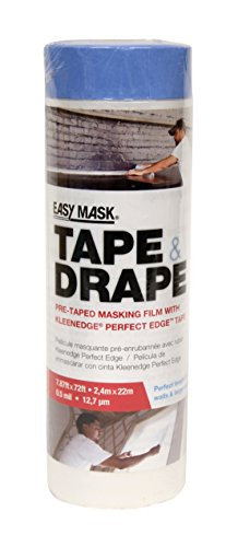 Trimaco 396490 Easy Mask Tape & Drape Pre-Tape Masking Film with 14 day Blue PerfectEdge Tape, 2.4m x ()