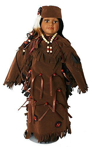 Native American Porcelain Doll 18 inches with Traditional Faux Brown Leather Dress with Beading and Headdress and (Porcelain Leather)