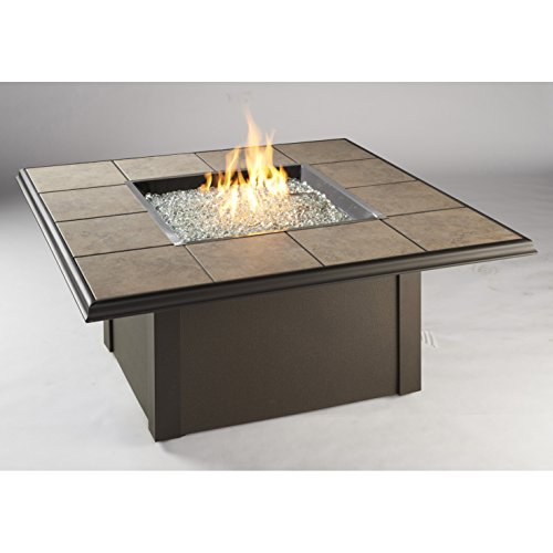 Outdoor Great Room Napa Valley Crystal Fire Pit Table with Brown Metal Base, Tan Porcelain Tiles and a Square (Discount Granite Tiles)