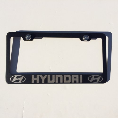 """Matte Black Laser Engraved Hyundai Stainless Steel USA License Plate Frame With Engraved Steel Logo Screw Cap Combo 12.25"""" x 6.5"""""""
