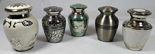 Cremation Urn, keepsake urns, brass funeral tokens, set of 5, memorial keepsakes