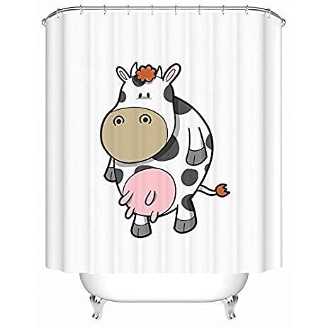 ZLSY Custom Dairy Cattle Cow Shower Curtain Stylish Waterproof Polyester Fabric Bathroom Deco 72quot