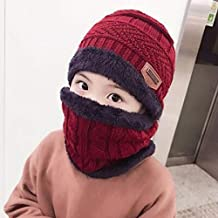 Myhome99 Hot Parent Child 2pcs Super Warm Winter Balaclava Wool Beanies Knitted Hat and Scarf for 3-12 Years Old Girl boy Hats undefined