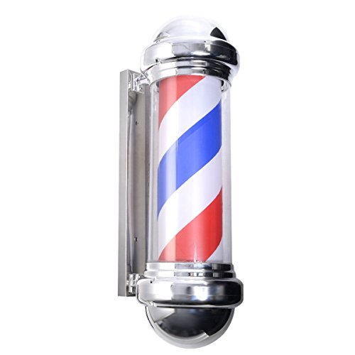 Giantex 30'' Barber Shop Pole Red White Blue Rotating Light Stripes Sign Hair Salon by Giantex