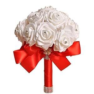 Bluester rosa Artificial flores de seda,), color marfil/casa decoración de la boda