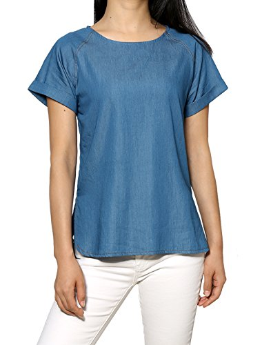 Allegra K Short Raglan Sleeves Round Neck Split Sides Chambray Tee Blue XS
