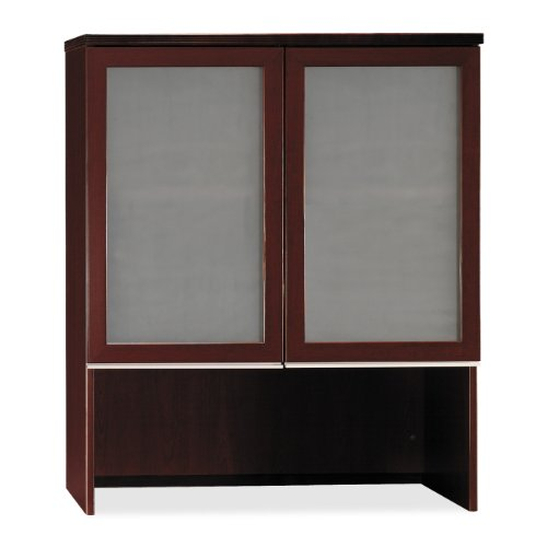 Bush Bookcase Hutch with Glass Doors, 35-3/4-Inch by 15-3/8-Inch by 43-1/8-Inch, Henna -