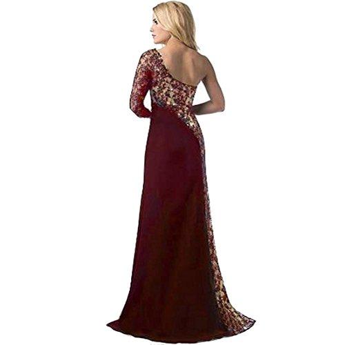 Formal Wedding Dress - Hemlock Women's One Shoulder Party Dress Lady Long Prom Dresses (L - Wine)