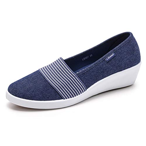 Peu Épais Bleu Plate Confortable Profondes forme Chaussures Talons Toile 3213 Haut Compensées Femmes POxwIFy