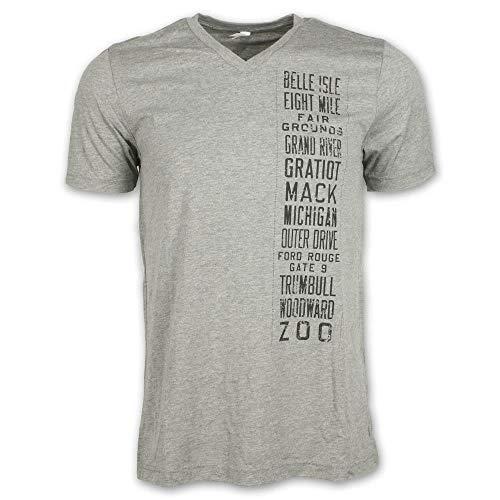 Detroit Scroll Down The Road Men's V-Neck T-Shirt, Light Grey, XL