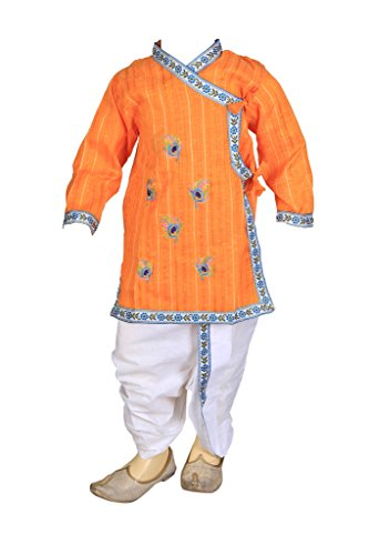 Dhoti Kurta (FOCIL pongal/Makar Sankranti Special Orange Peacock Feather Embroidered Dhoti & Kurta Pant Set For Kids,6-12 Months)