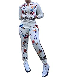 FOUNDO Women's Floral Tracksuit Jacket and Pants 2 Piece Sports Joggers Jog Set