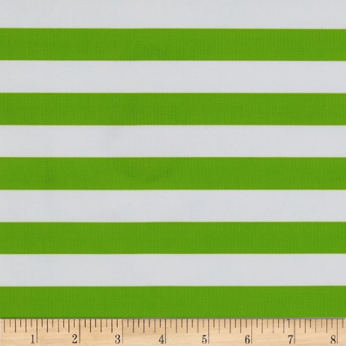 Oilcloth Stripes Green Fabric By The Yard