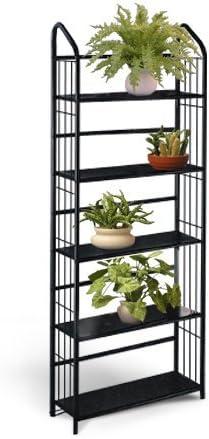 Metal Negro Exterior Patio Planta Soporte Estantería Estantería de 5 baldas