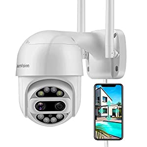 HeimVision HM612 PTZ Security Camera Outdoor, 2x2MP Ultra HD Dual Lens, Pan/Tilt/12X Zoom, 360° View, Wi-Fi Wireless…