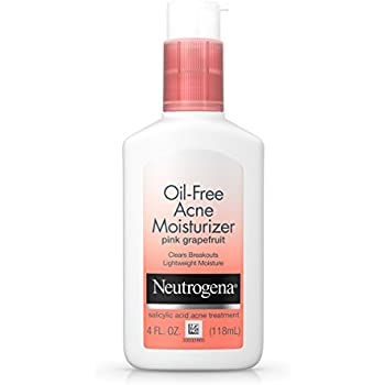 Neutrogena Oil-Free Facial Moisturizer for Acne with Salicylic Acid Acne Treatment, Non-Comedogenic with Pink Grapefruit Scent, 4 fl. oz