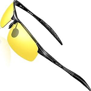 SIPLION Men's Driving Polarized Sport Sunglasses Al-Mg Metal Frame Ultra Light 8177 Night Vision