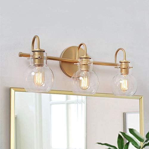 "KSANA Gold Bathroom Vanity Light Fixtures with Clear Glass Shade, 22""x7""x9"