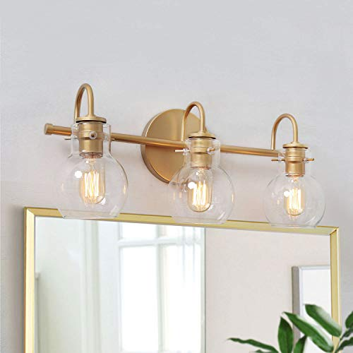 "KSANA Gold Bathroom Vanity Light Fixtures with Clear Glass Shade, 22""x7""x9"