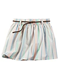 Carter's Girl Striped Poplin Skirt with Faux-Leather Braided Belt; Multi-Colored (3T)
