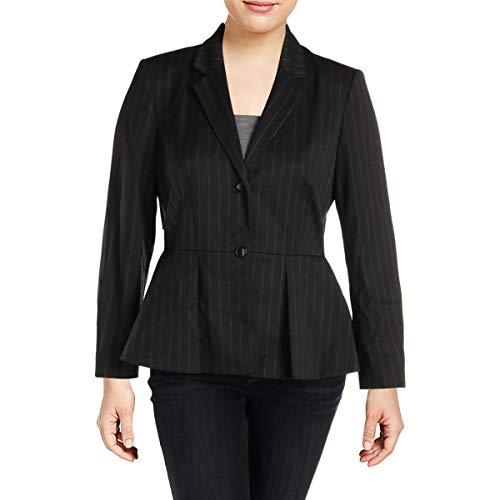 DKNY Womens Pinstripe Suit Seperates Peplum Jacket Gray 4 (Dkny Cotton Coat)