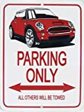 mini cooper parking sign - MINI Cooper Parking Only Metal Sign - Red MINI Image