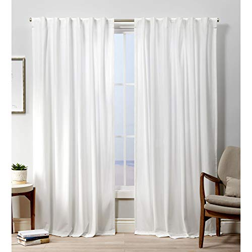 Exclusive Home Curtains Velvet Hidden Tab Top Curtain Panel, 52x96, Winter White, 2 Panels