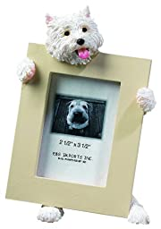 Westie Picture Frame Holds Your Favorite 2.5 by 3.5 Inch Photo, Hand Painted Realistic Looking Westie Stands 6 Inches Tall Holding Beautifully Crafted Frame, Unique and Special Westie Gifts for Westie Owners