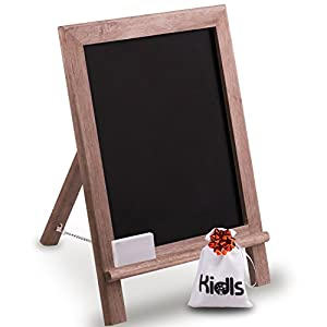 Premium Wood Framed Rustic Standing Chalkboard 12 x 16. Non-Porous Vinyl Surface. For Home, Bars, Restaurants and Weddings - for the Vintage Look! FREE BONUS: Eraser and Canvas Storage Bag